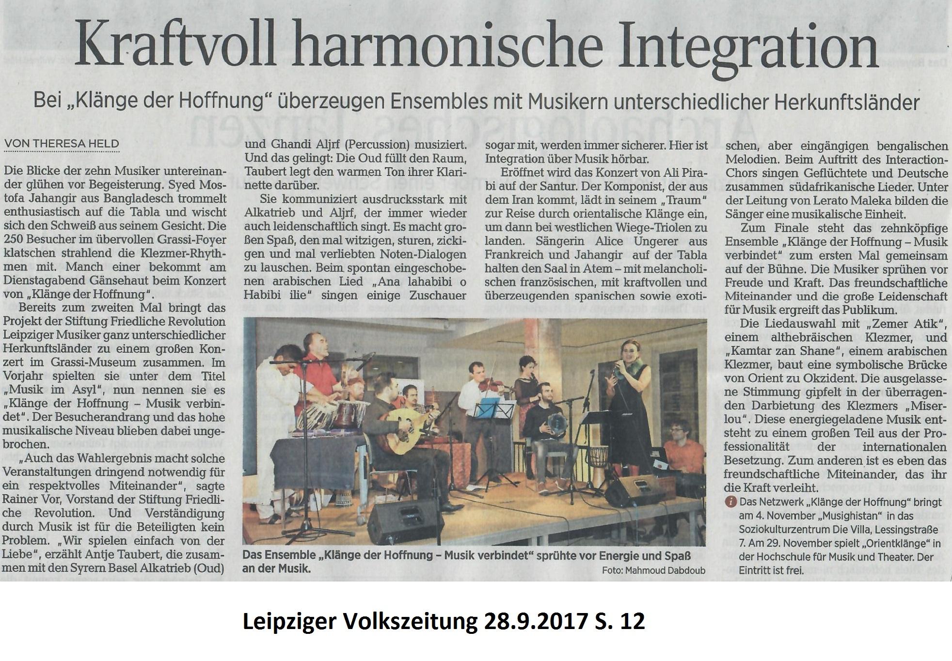 Kraftvolle Harmonische Integration - Leipziger Volkszeitung 28.9. S. 12